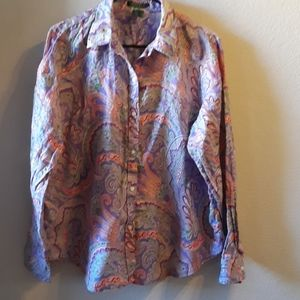 Ralph Lauren paisley button down top.